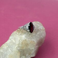 925 Sterling Silver Jewelry Marquise Faceted Red Garnet Size 8 Ring SR6107