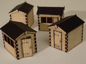 4 x garden sheds 00 gauge scenery detail kit 1:76 scale for model railway