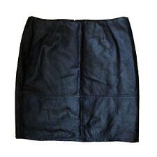 Vtg/Retro Black Genuine Leather High Waist Short Mini Skirt Small 10 W28