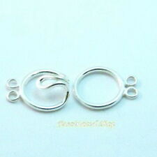 925 Sterling Silver 13mm  2 Strand Circle Clasp Findings New