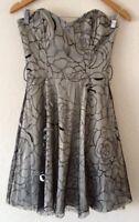 Jane Norman Evening Party Dress 10 Silver Black <R19560