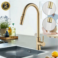 Modern Brushed Gold Kitchen Sink Mixer Tap Pull Out Sprayer Swivel Single Handle