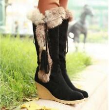 Womens Faux Suede Wedge Heels Fur Tassel Retro Warm Winter Knee High Snow Boots