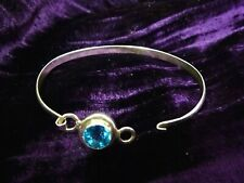 NEW  beautiful sparking Topaz crystal & 925 silver bracelet opening bangle