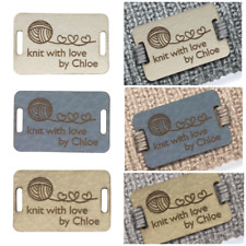 Personalised 28mm x 18mm Rectangle Faux Leather labels. Custom leather labels