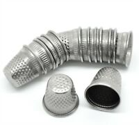 30x SILVER TONE Metal SEWING THIMBLES Set Closed Top Dressmakers Tailor Thimble