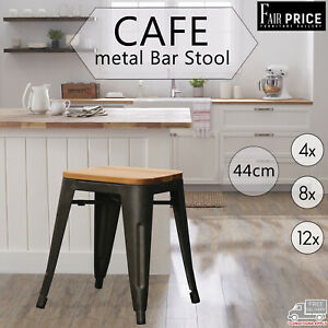4, 8, 12 New Cafe Tolix Style Bar Stool Xavier Metal Steel w/ Pinewood Seat 44cm