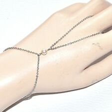 Chaîne de main bracelet bague acier inoxydable perle nacrée bijou