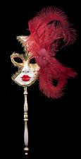 Masque de Venise à Baton Plumes autruche Rouge-doré-Carnaval venitien-1432 VG7