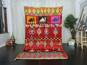 "Moroccan Handmade Boujad Berber Rug 5'2""x8'4"" Geometric Red Wool Tribal Carpet"