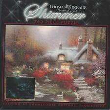 """THOMAS KINKADE SHIMMER """"EVENING AT SWANBROOKE, THOMASHIRE  COTTAGE"""" 750 PC. PUZ"""