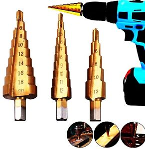 3pcs Step Cone Drill Bit Set HSS Steel Titanium Coated Hex Shank Hole Cutter