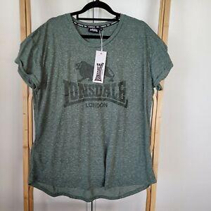NEW Lonsdale Size 18 Khaki Tshirt Tee Casual Shirt Short Sleeve Printed Logo