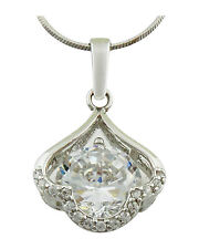 Austrian Crystal Rhodium Plated Round Solitaire & Cluster Pendant
