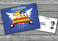 Personalised Sonic The Hedgehog Birthday Card A5 Large Name And Age
