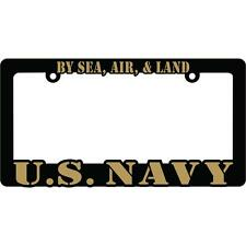 U.S. NAVY BY SEA, AIR, & LAND Black Auto License Plate Frame