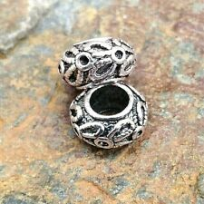 2 x Rondelle Dreadlock Beads. Antique Silver Finish, 5mm Hole. Beard, Dread, Loc