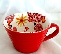Coffee MUG 12oz Red with Interior Graphics Ribbed Ceramic Cup Starbucks 2007 EUC