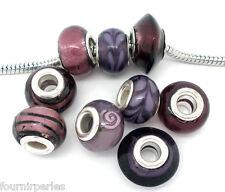 100Mixte Perles FP Lampwork Verre pr Bracelet Charm 14x10mm