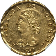 Colombia 1831 BOGOTA-RS Republic gold 8 Escudos NGC AU-58