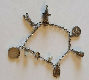 """Vintage silver charm bracelet with x6 charms on 7"""" chain. Jewellery religious"""