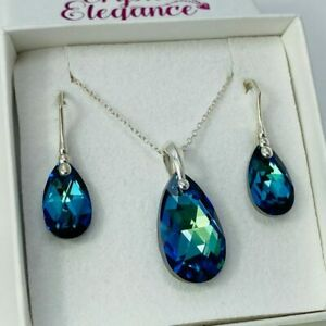 925 Silver Pear Pendant Blue Necklace Earring Set  Made With Swarovski® Crystals