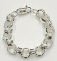 "Sterling Silver Belcher Bracelet- Heavy Solid  7"" - 46 grams- 16 mm links"
