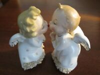 Vintage Fine A Quality Angels Kissing Spaghetti Gold Accents Figurines Japan