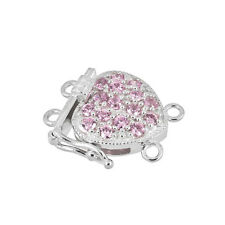 Fine Sterling Silver 2-Strand Pearl Heart Box Clasp with CZ Pink #51495