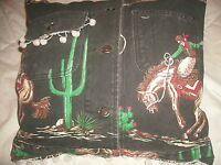 SHABBY COWBOY SCENE PILLOW SCHAEFER OUTFITTER JACKET DINGLE BALL TRIM CHIC