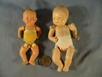 Small Vintage Ceramic Bisque Jointed Baby Doll  one Japan, one unknown, used