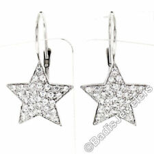 Leverback Lab-Created White Gold Fine Earrings