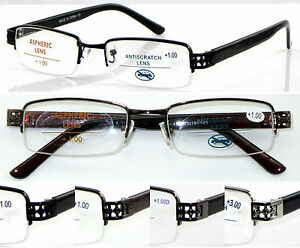L412 Superb Quality Semi Metal Frame Reading Glasses/Plastic arms & Comfy Design