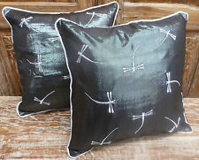 Cotton Cushion Covers Metallic Black Silver Dragonfly Embroidery (pair) 40cm