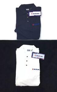 Suzuki Style Mens Short Sleeve Polo Shirt Dark Blue White Sz XL Motorsports Car