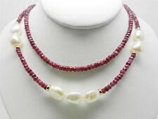"14K YELLOW GOLD VINTAGE RUBY BEADS AND BAROQUE PEARL NECKLACE 18"" LONG - LB2328"
