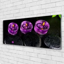 Wandbilder Glasbilder Druck auf Glas 125x50 Kerzen Steine Kunst