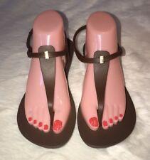Ipanema Lenny Niemeyer Womens Flip Flops Thong Sandals Brown Gold Sz 10 New