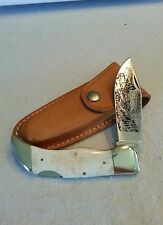 LARGE SMOKY MOUNTAIN KNIFE WORKS CLASP KNIFE WITH CIVIL WAR TRAIN SCENE