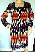 New Missoni Orange Label Rainbow Zigzag Long Sweater Cardigan Jacket US 4 IT 40