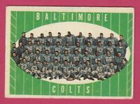 1961 Topps Football # 9 Baltimore Colts Team Card -- Box 708-164