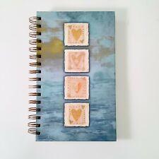 Journal Notebook Wirebound Hardback, Writing, Journaling, Blue with Hearts