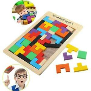 Children Wooden Puzzles Toy Tangram Brain Jigsaw Board Kid Baby Tetris Toys