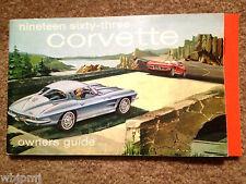 1963 Corvette Factory Original GM Owners Manual NCRS Top Flight Full News Card