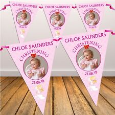 Personalised Girls Christening Baptism Flag Banner Bunting N4 - 10 Flags