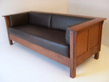 Mission Arts and Crafts Stickley Style Prairie Panel Leather Settle Sofa