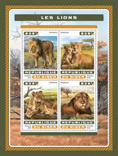 Niger 2016 MNH Lions 4v M/S Big Cats Wild Animals Stamps