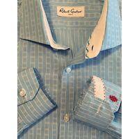 Robert Graham Mens Blue Button Up Down Long Sleeve Shirt Flip Cuff 16 41 Large