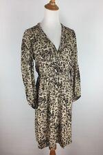 Rebecca Taylor Womens Sz 4 Beige Brown Leopard Print Braided Collar Dress B56