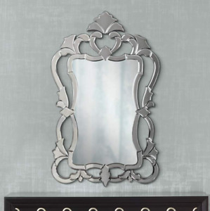 Horchow VENETIAN ORNATE Frameless Wall Vanity Mirror French Farmhouse New